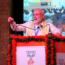 Prime Minister Narendra Modi addressing BJP general council in Kozhikode on Sept. 25