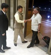 Union Minister of State for External Affairs V. K. Singh being received by Indian Ambassodar Ahmad Javed in Jeddah