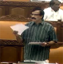 Education Minister C. Raveendranath moving the resolution on Monday