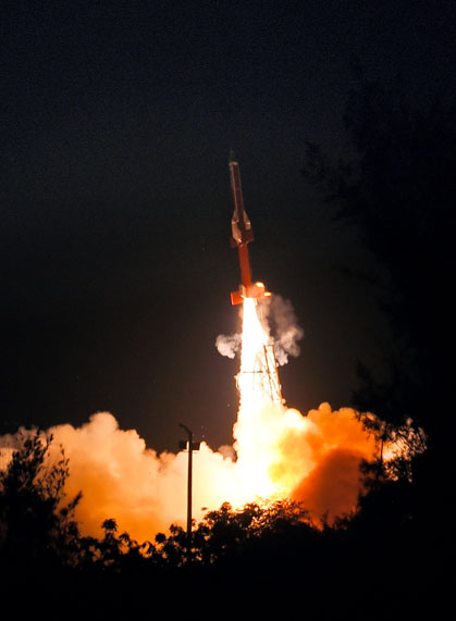 Lift off of solid rocket booster carrying the Scramjet Engines on August 28, 2016